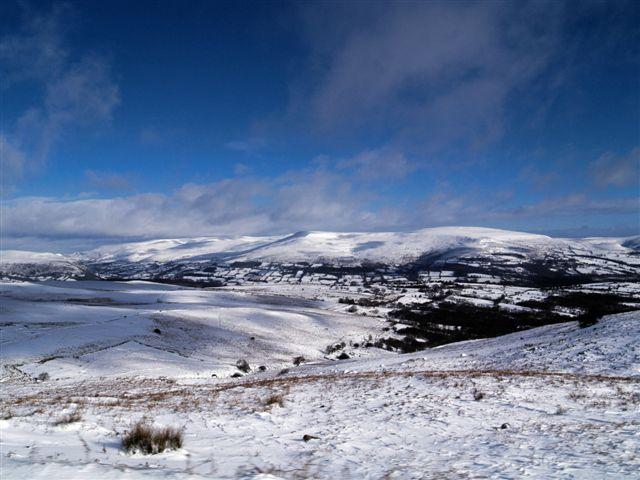 Snow scene looking towards Tretower