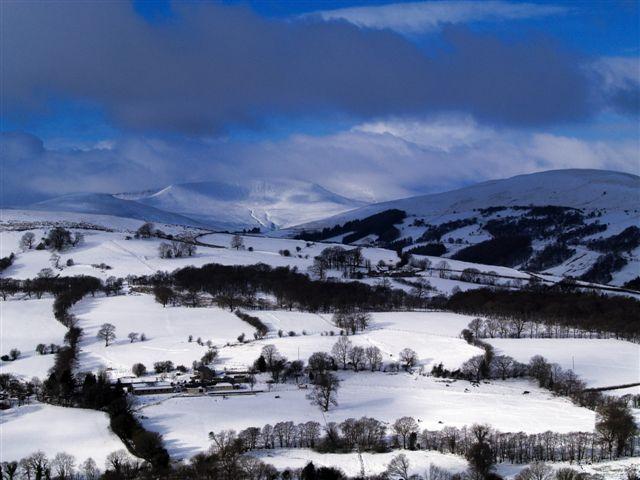 Snow scene looking towards Pen y Fan