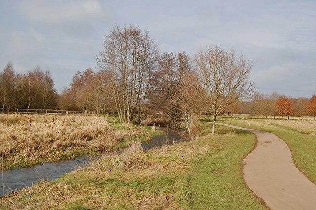 Footpath beside River Crane, Dorset