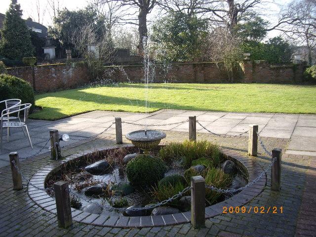 Water feature in Bromley Court Hotel garden