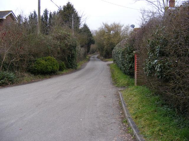 The road to Hintlesham & Corner Farmhouse Victorian Postbox