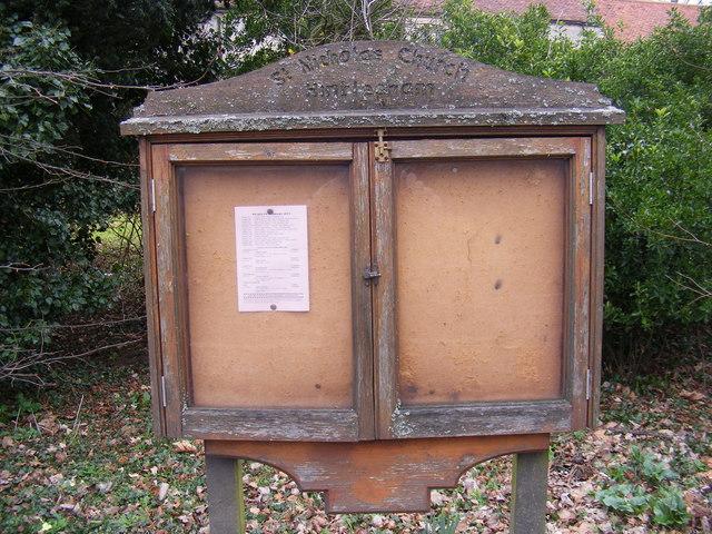 St.Nicholas Church, Hintlesham, Notice Board