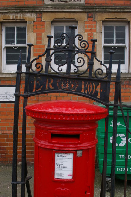 Pillar box outside former sorting office, Leighton Road, Kentish Town, London NW5