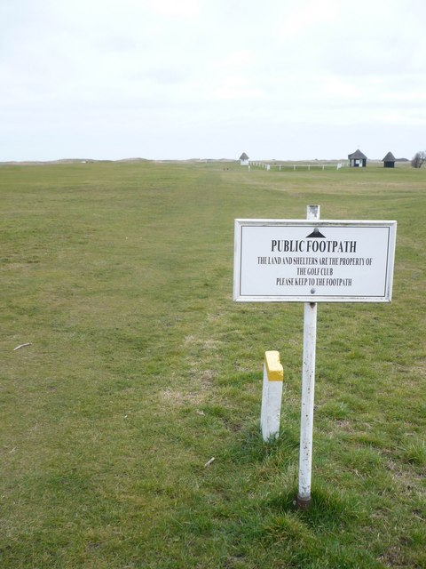 The Saxon Shore Way starts to cross the Royal St. George's Golf Course