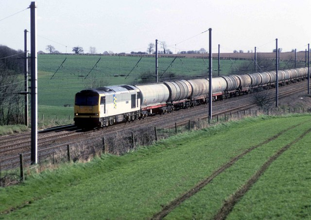 Empty oil train heads down the Midland main line