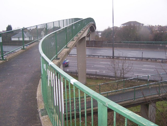 Footbridge over A282 dual carriageway