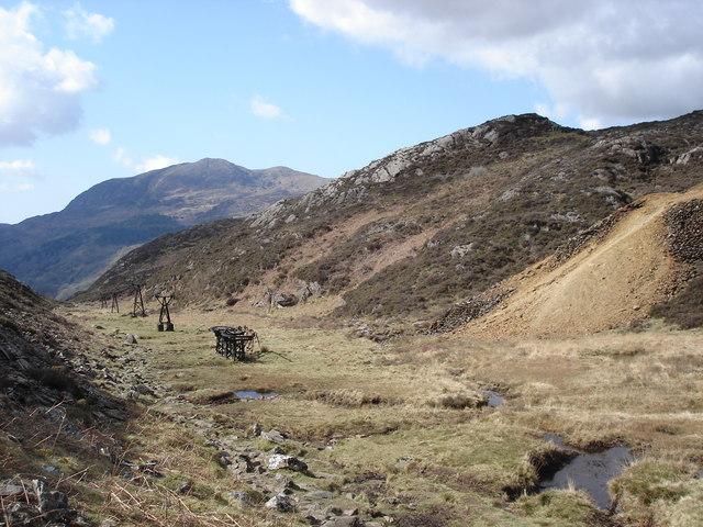 Cwm Bychan - disused copper mining gantries