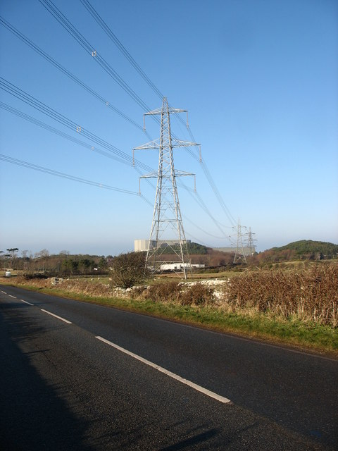 Power lines leading from Wylfa Nuclear Power Station