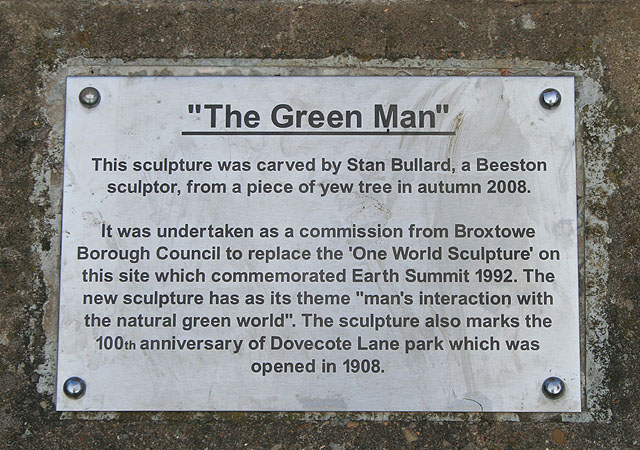 "Plaque for ""The Green Man"""