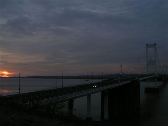 Severn bridge at sun down