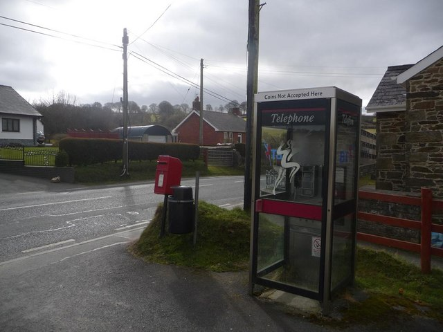 Gwyddgrug: postbox № SA39 239 and phone