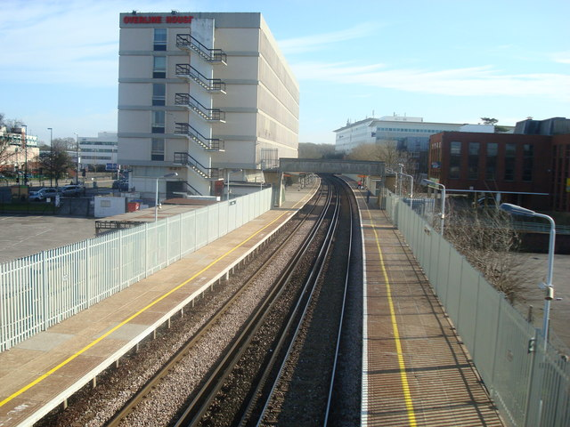 View of Crawley Railway station from footbridge