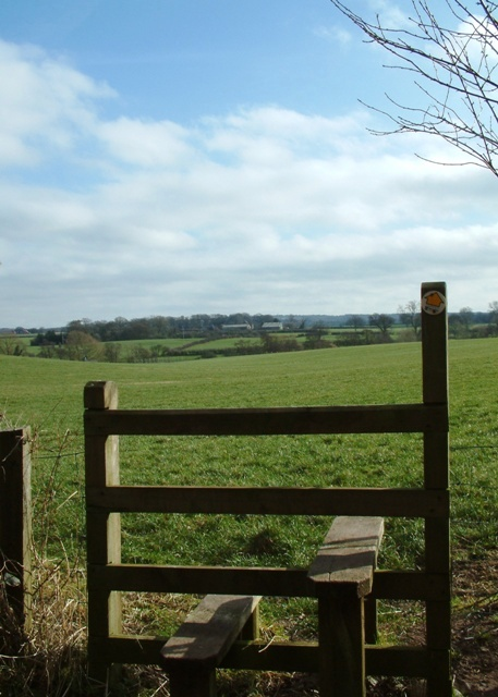 Stile into the fields, Norton in Hales