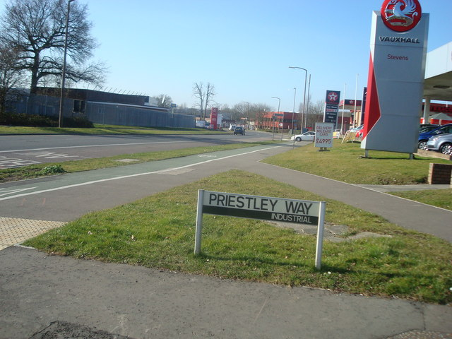 Priestley Way, junction with Fleming Way, Crawley
