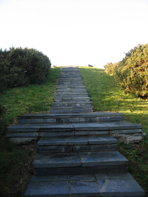Slate steps leading to the observation point overlooking Wylfa Nuclear Power Station
