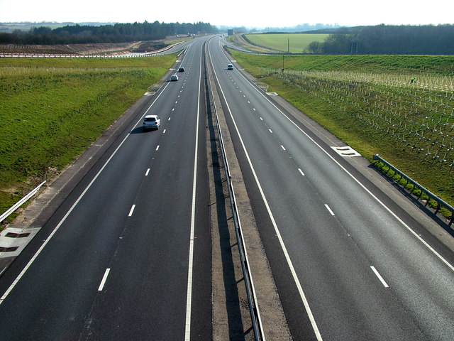 New A14 road towards Stowmarket