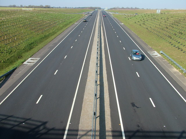 A14 west at Haughley