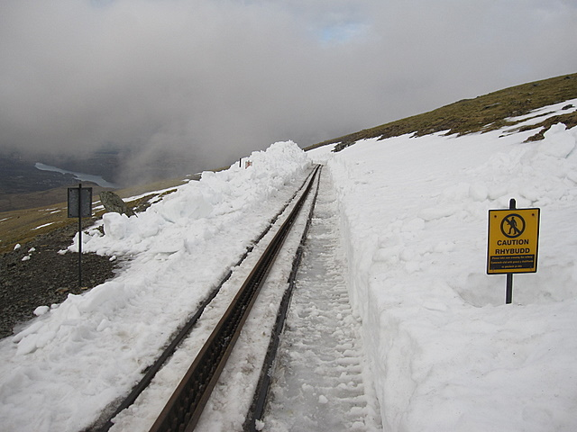 The Snowdon Ranger path crosses the track
