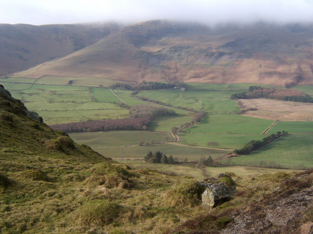 Lowscales Bank and the view across the Whicham Valley