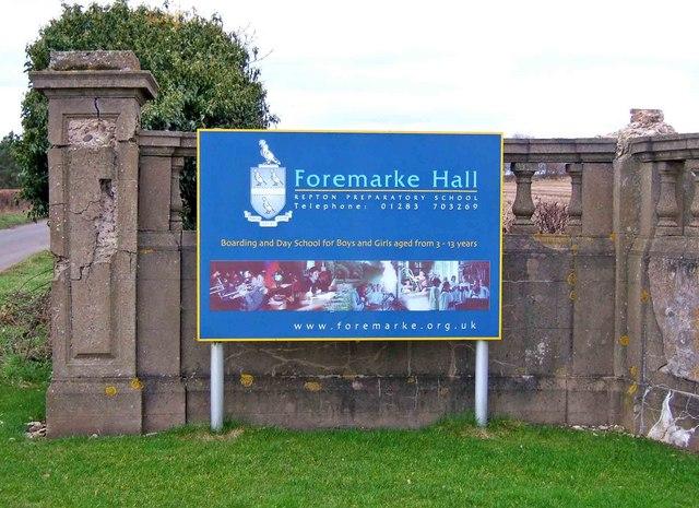 Foremarke Hall (Repton Preparatory School) sign
