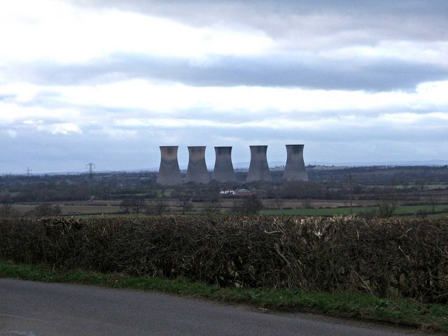 Disused towers of former Willington Power Station