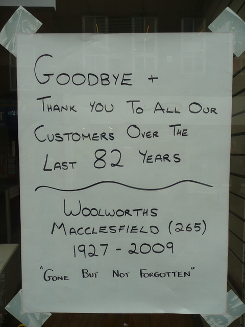 Sign on Woolworths window