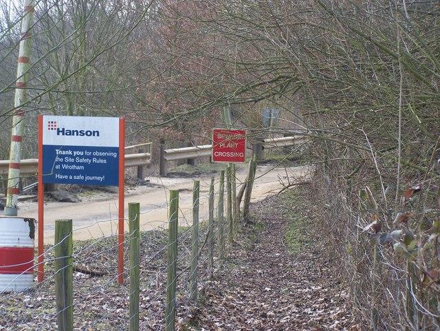 Footpath crosses Hanson Quarry entrance