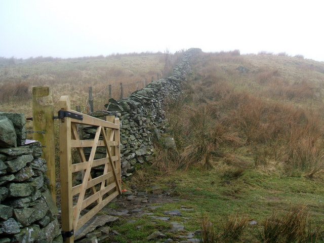 New gate, old wall on Cocklaw Fell