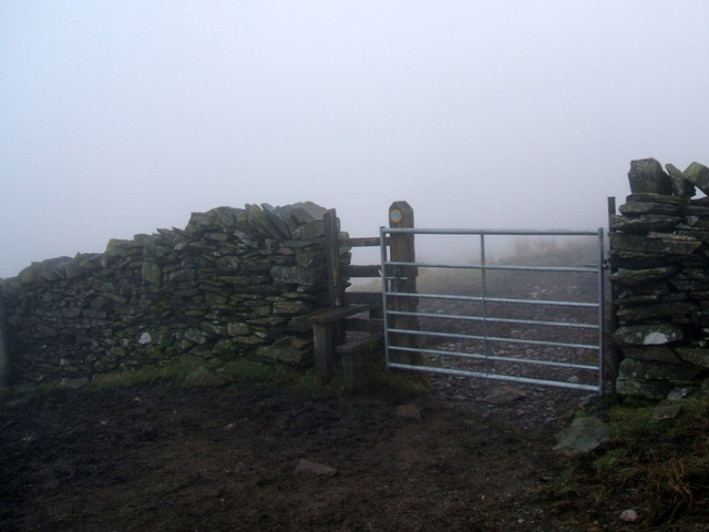 Wall, gate, stile, track and mist on Green Quarter Fell