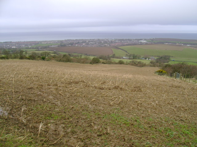 Arable farmland on the lower slopes of Saugh Hill