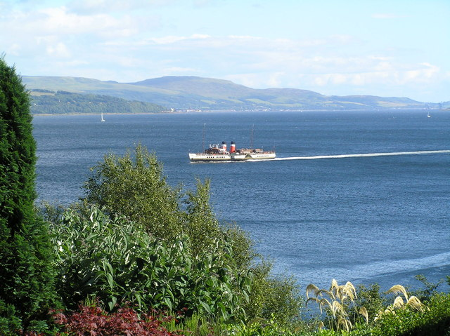 Paddle steamer The Waverley passing Innellan