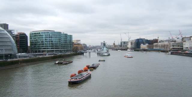 HMS Belfast and the River Thames from Tower Bridge