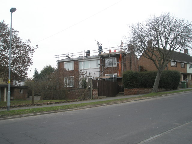 Scaffolding on house in Woofferton Road