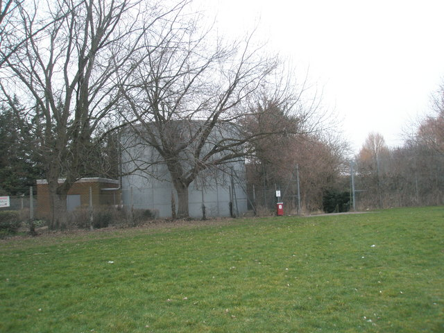 Gasometer in the north-west corner of King George V Playing Field