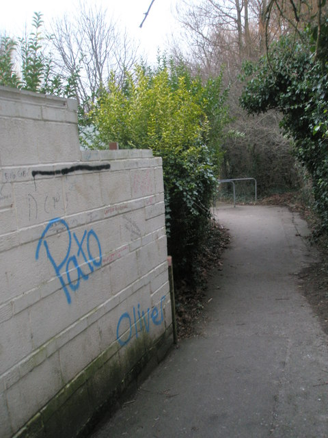 Graffiti on the footpath from Cow Lane to Brighstone Road Rec