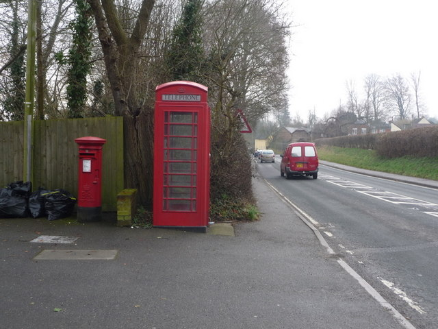 Charlton Marshall: postbox № DT11 53 and phone