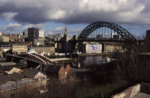 The swing bridge and Tyne Bridge from Gateshead