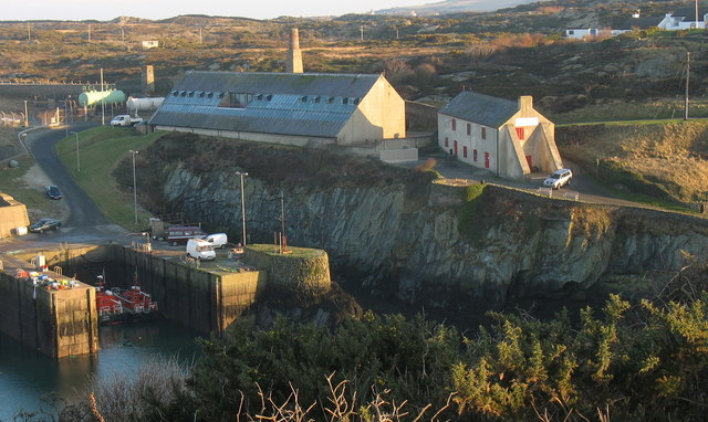 The Sail Loft Visitor Centre and the former Oil Terminal at Porth Amlwch