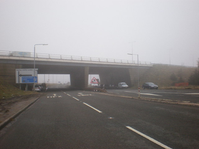 M62 bridge over the A672 at Junction 22