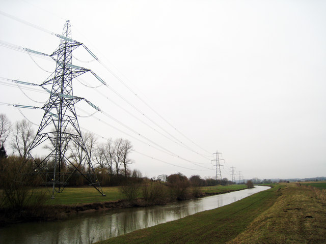 Electricity Pylons adjacent River Rover