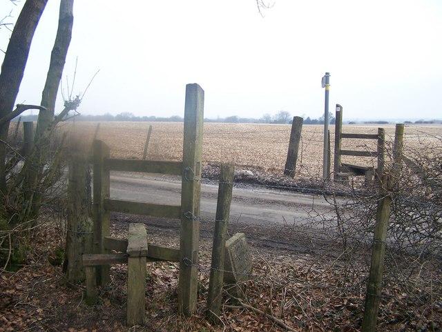 Footpath crosses Labour-in-vain Road