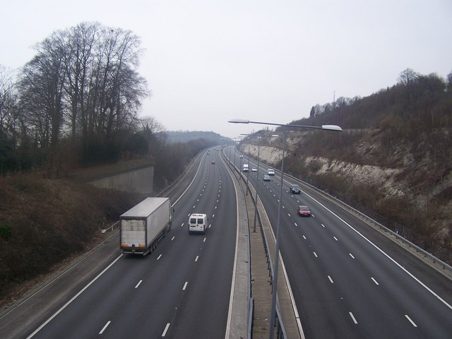 M20 Motorway leads uphill