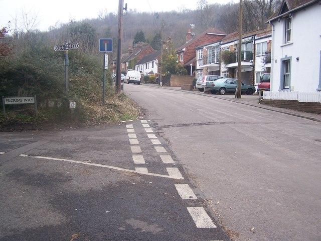 North Downs Way crosses road