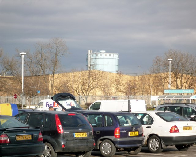Southall gasometer from Tesco's entrance at Bulls Bridge