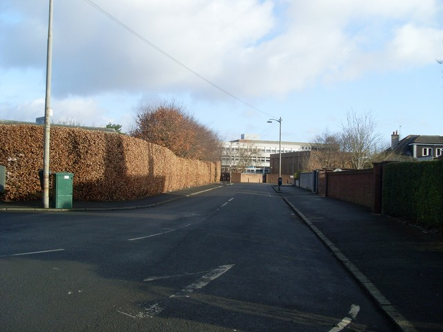 Looking towards Hillpark Secondary School