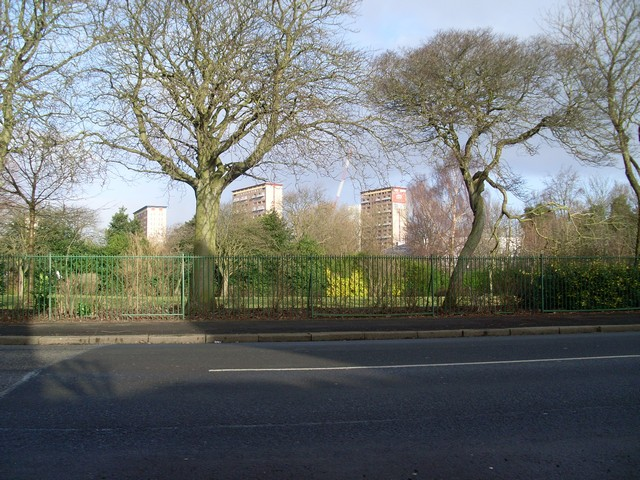 Looking across Auldhouse Park to Shawbridge Flats