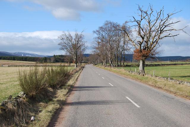 B976 South Deeside Road at Dubston, Finzean
