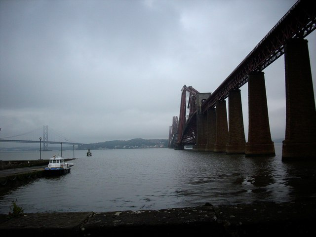 The Forth Bridge and the old ferry pier