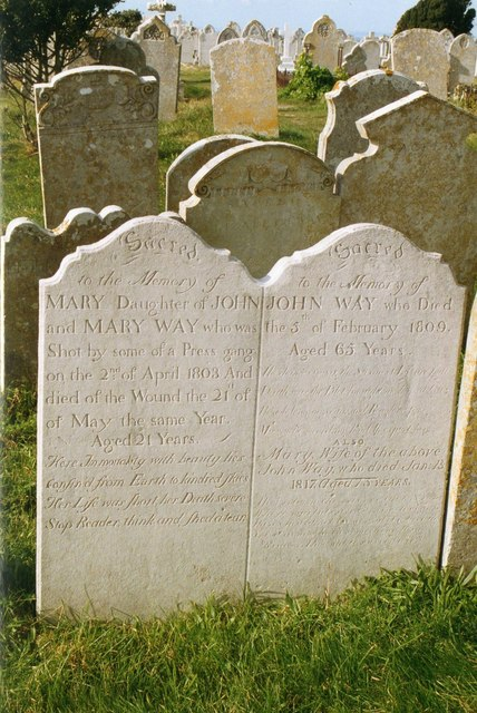 The grave of Mary Way in St Georges churchyard
