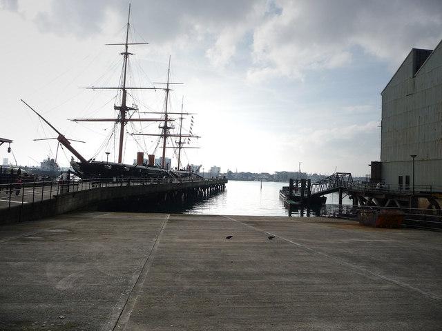 HMS Warrior from inside the dockyard